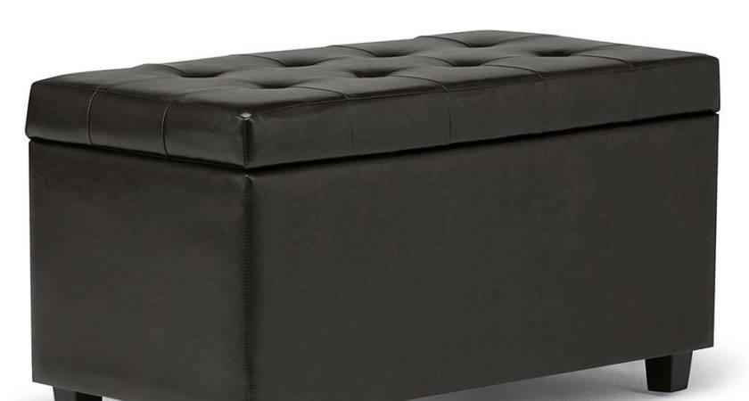 Leather Storage Ottoman Bench Foot Stool Tufted Seat