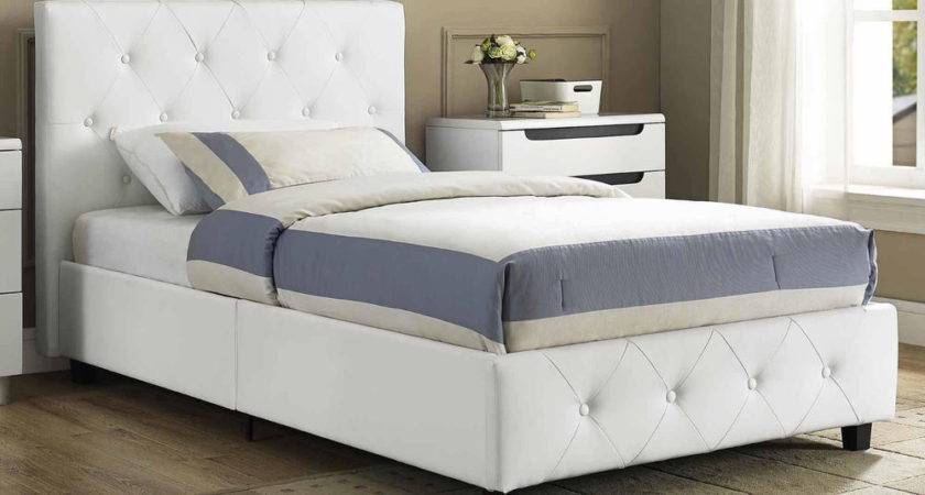 Leather Upholstered Bed Faux White Frame Twin Queen