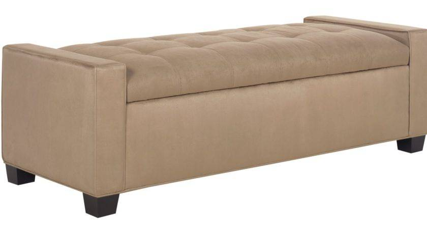 Leather Upholstered Storage Ottoman Bedroom Bench Club