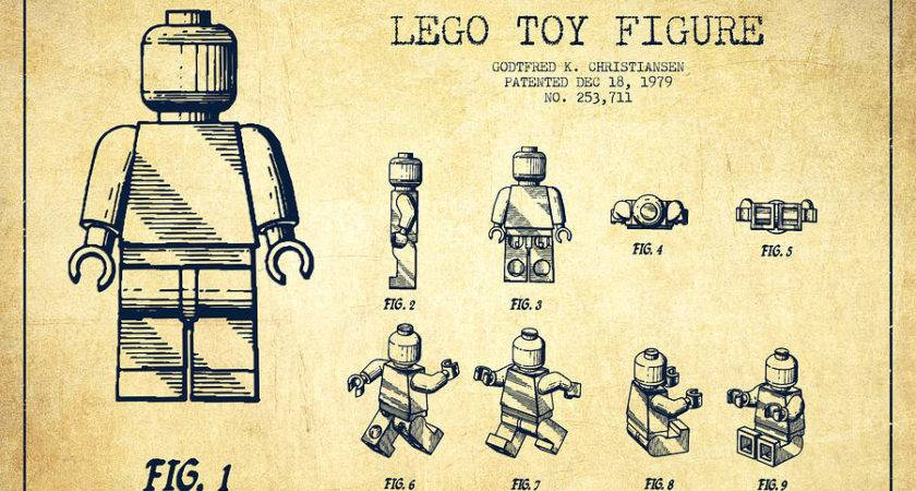 Lego Toy Figure Patent Drawing Vintage