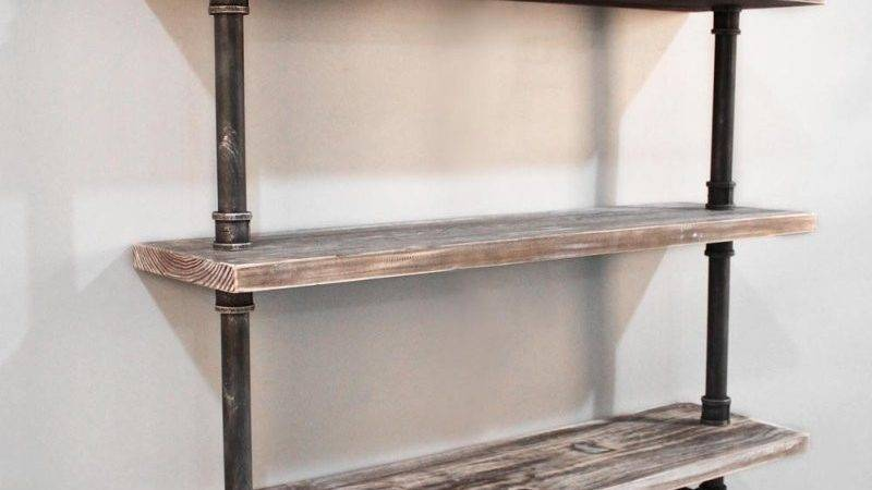 Level Rustic Industrial Timber Pipe Shelf Buy