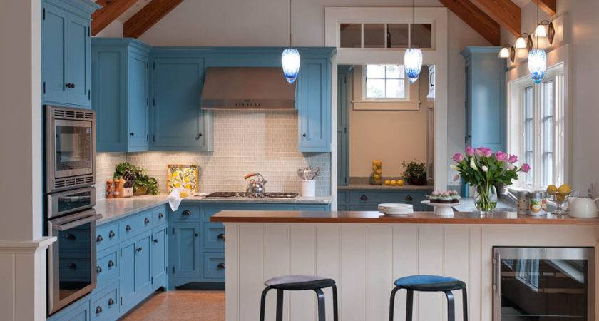 Light Blue Kitchen Cabinets Beach House