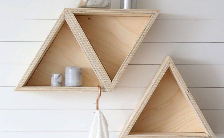 Light Brown Wooden Triangle Corner Shelf Wood Grey Stucco