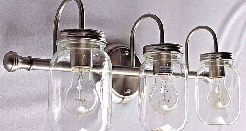 Light Clear Mason Jar Lighting Brushed Nickel Vanity