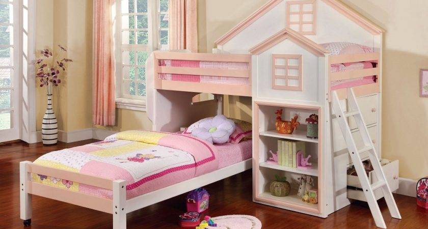 Loft Bed House White Pink Twin Bunk Bookcase