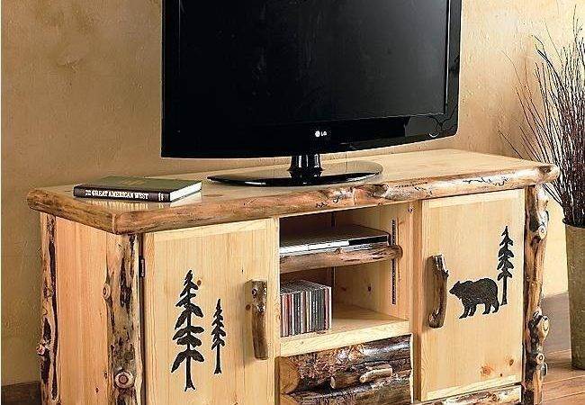 Log Console Stand Country Western Rustic Cabin Wood