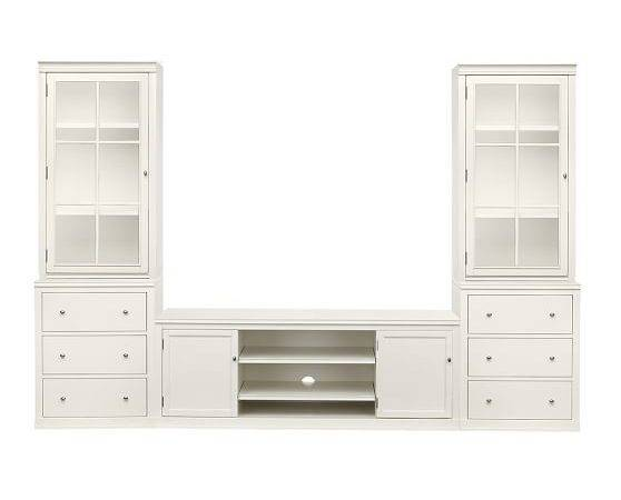 Logan Media Suite Drawers Glass Towers Antique
