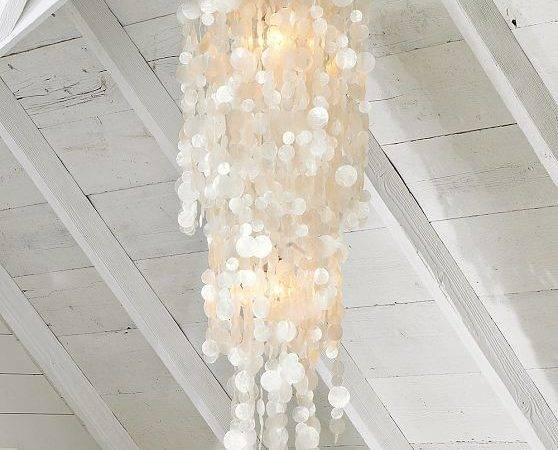 Long Hanging Capiz Pendant Lamp Modern