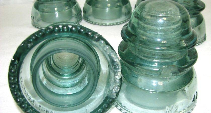 Lot Vintage Mclaughlin Blue Glass Insulators