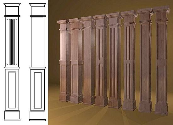 Lovely Interior Column Square Wood Columns