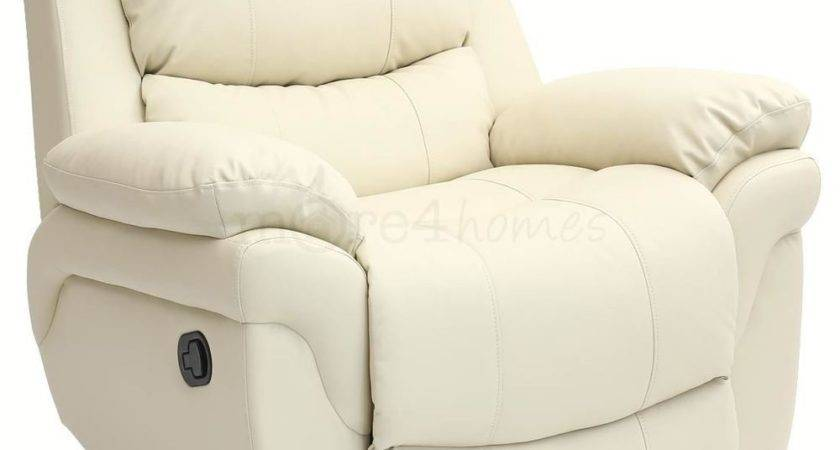 Madison Cream Real Leather Recliner Armchair Sofa Home