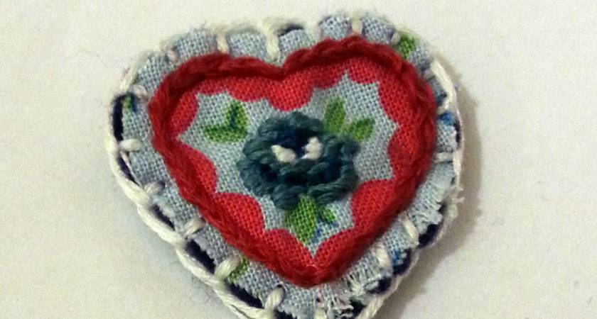 Make Monday Embroidered Heart Brooch