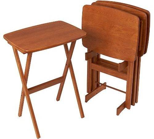 Manchester Wood Contour Folding Tray Table Set