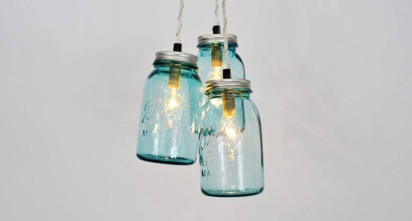 Mason Jar Chandelier Pendant Light Vintage Aqua Blue Jars