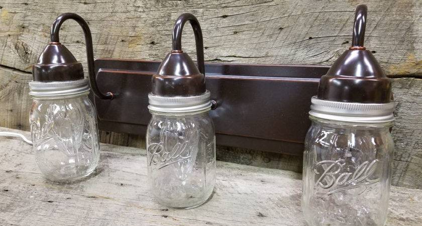 Mason Jar Light Weathered Bronze Vanity Pint
