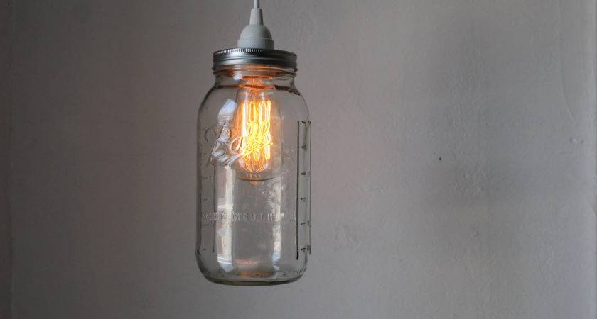 Mason Jar Pendant Lamp Large Half Gallon Hanging