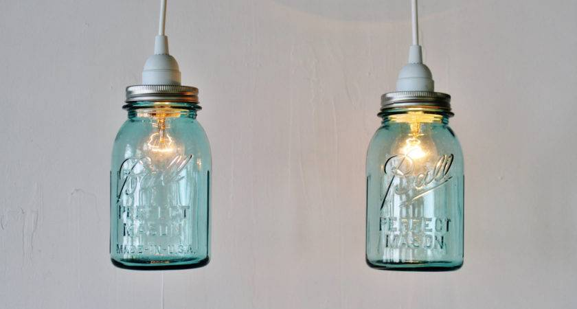 Mason Jar Pendant Lights Pair Hanging Lamps