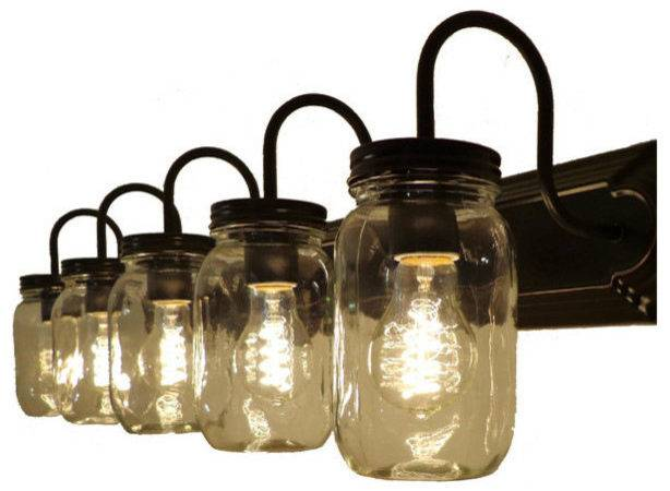 Mason Jar Vanity Fixture Bathroom Lighting Houzz