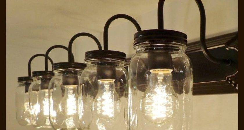 Mason Jar Vanity Light New Quart Clear Lamp Goods