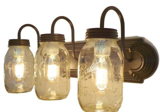 Mason Jar Vanity Light Trio New Quarts Bathroom
