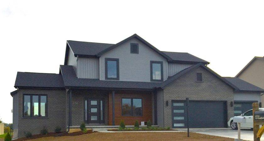 Mastic Deep Granite Grey Siding Black Trim Cedar