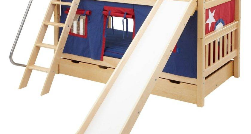 Maxtrix Low Bunk Bed Angled Ladder Slide Twin