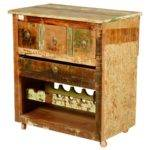 Merizo Rustic Reclaimed Wood Rolling Wheel Bar Cabinet