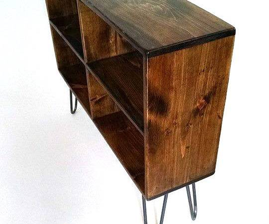 Mid Century Modern Console Table Media Storage Bench