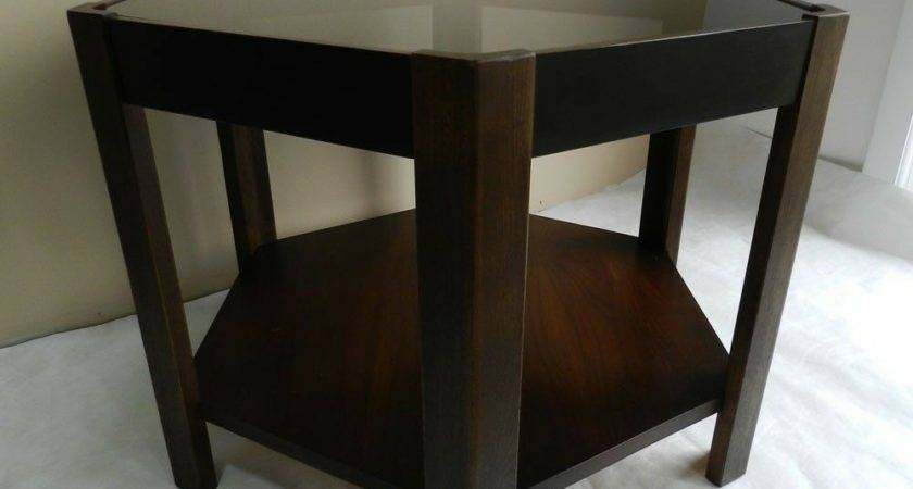 Mid Century Modern Hexagon End Side Table Glass Top Ebay