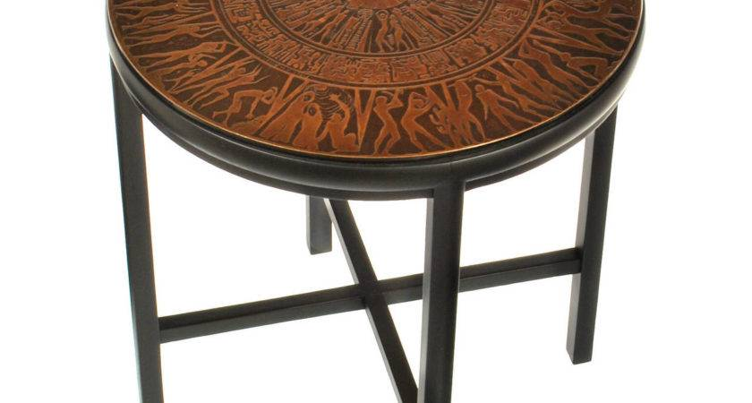 Mid Century Modern Side Table Copper Relief Top