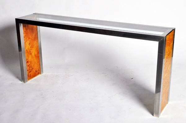 Mid Century Modern Waterfall Glass Chrome Console