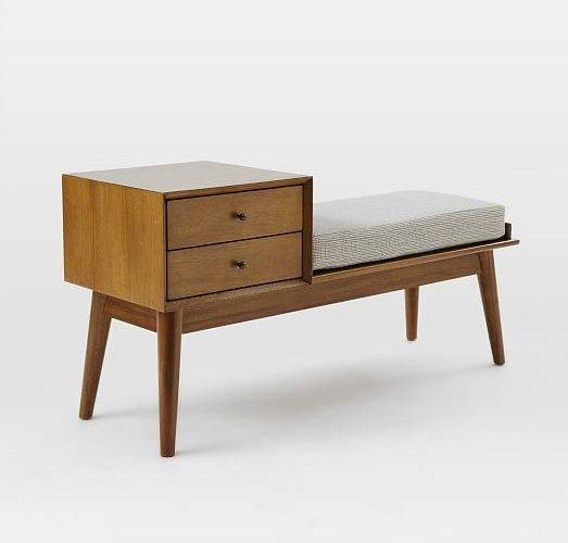 Mid Century Storage Bench Acorn West Elm
