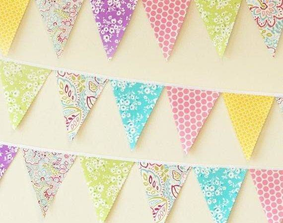 Mini Pennant Fabric Banner Bunting Bright Pastels Room