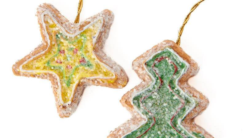 Miniature Gingerbread Star Tree Christmas Ornaments