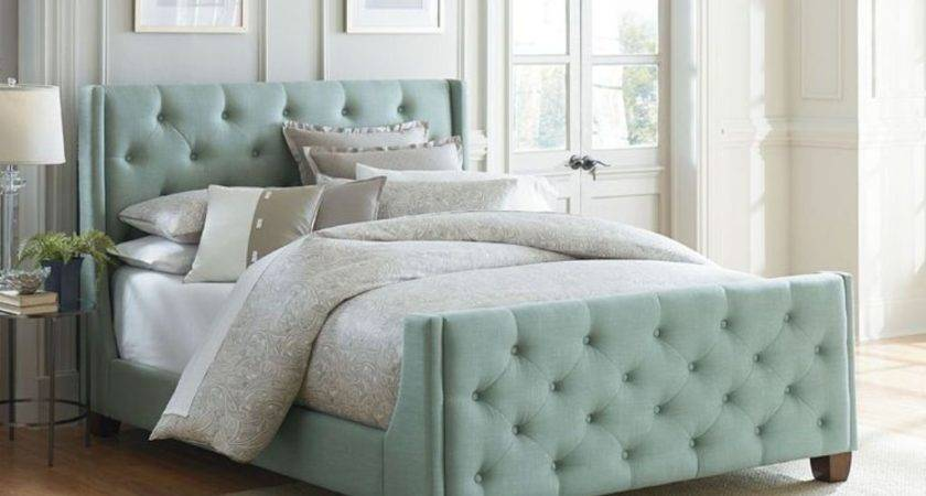 Mint Green Tufted Headboard Footboard Set