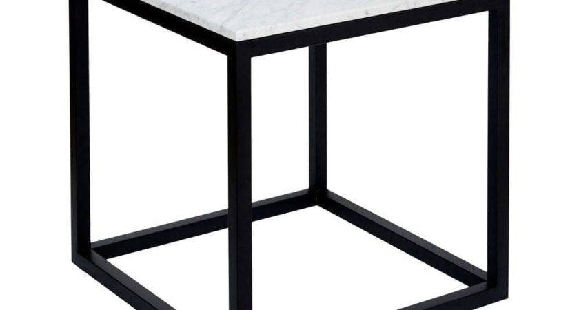 Modern Designer Marble Side Table Black Steel Base