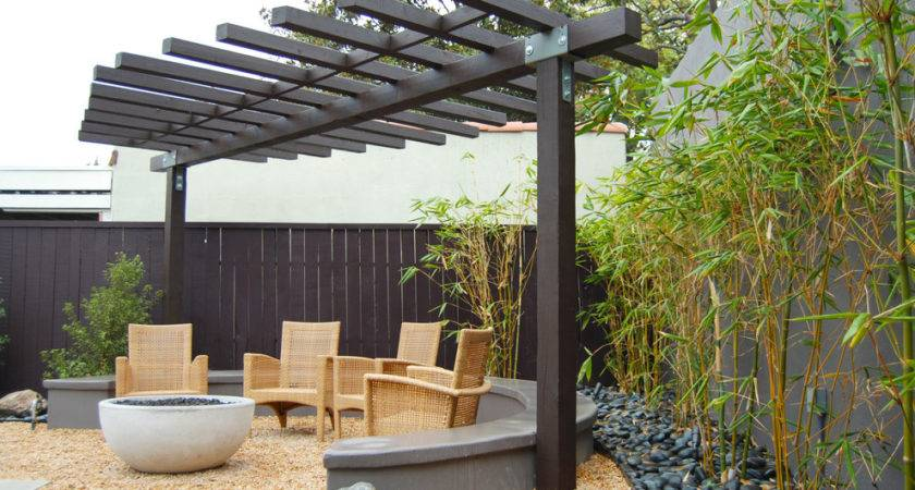 Modern Pergola Patio Asian Outdoor Fire Pit Firepit