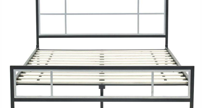 Modern Steel Bed Queen Platform Metal