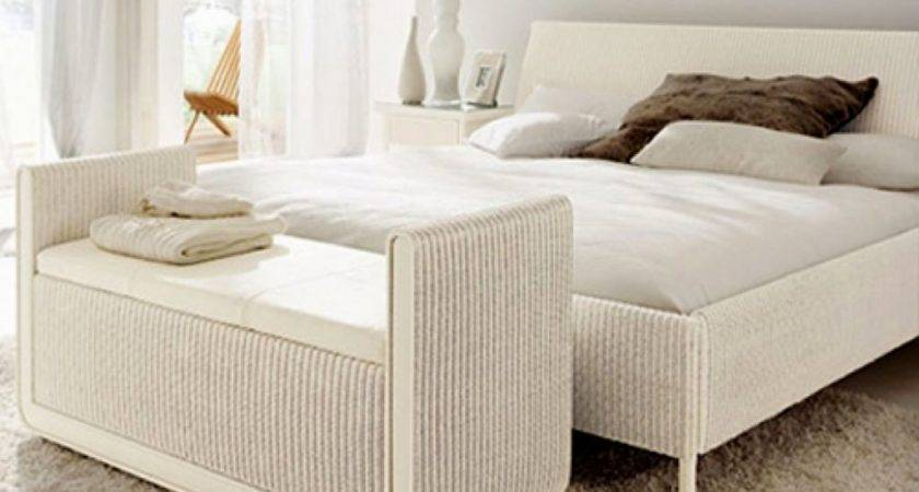 Modern White Rattan Wicker King Bed Frame Which Mixed