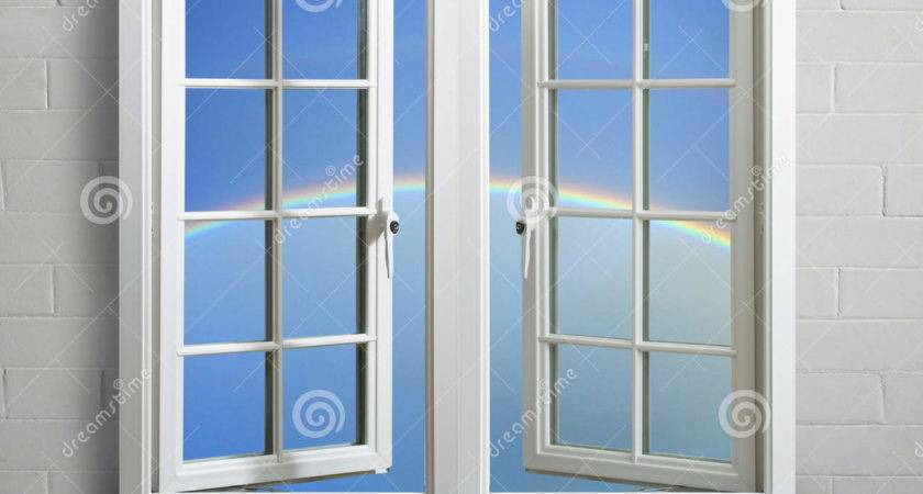 Modern White Window Frame Sky Rainbow
