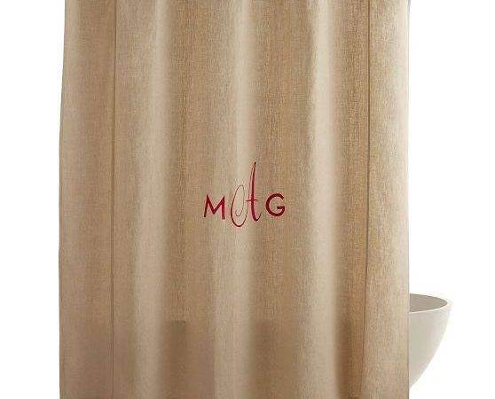 Monogrammed Shower Curtain Sage Stripe Ballard Designs