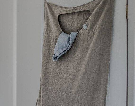 Natural Hanging Linen Laundry Bag
