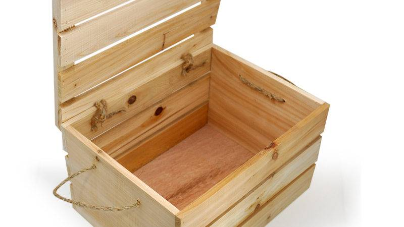 Natural Wooden Storage Box Lid Small Lucky