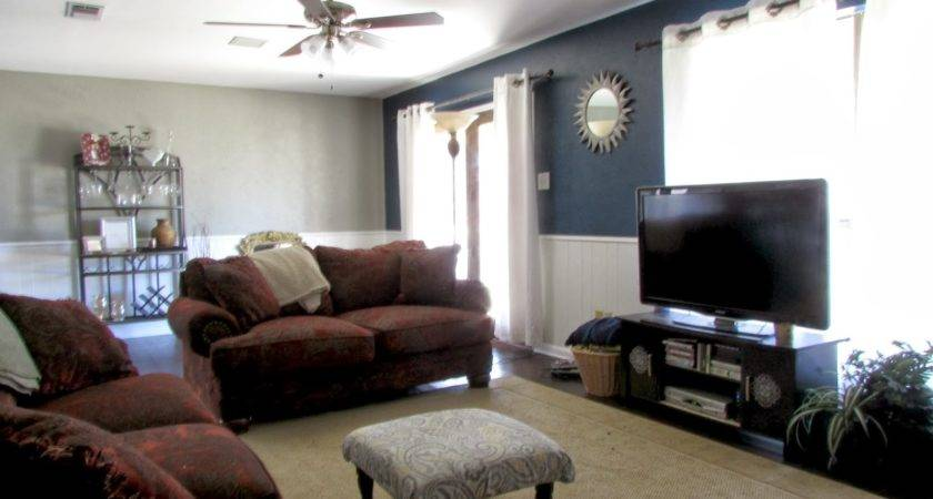 Navy Blue Accent Wall Living Room