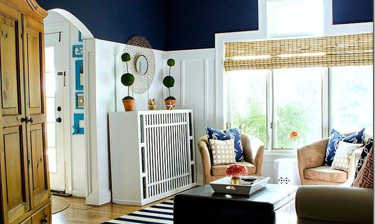 Navy White Board Batten Living Room Design