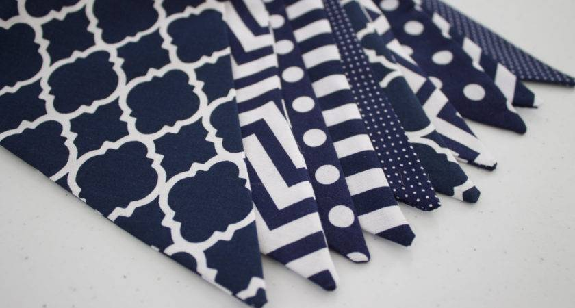 Navy White Fabric Bunting Pennant Banner Boys Room