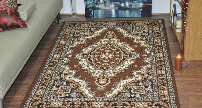 New Brown Extra Large Modern Traditional Medallion Area