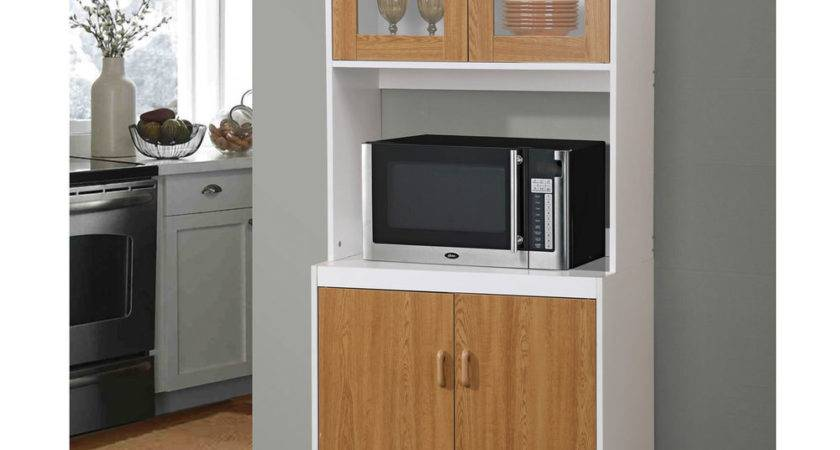 New Brown Tall Kitchen Microwave Stand Utility Cabinet