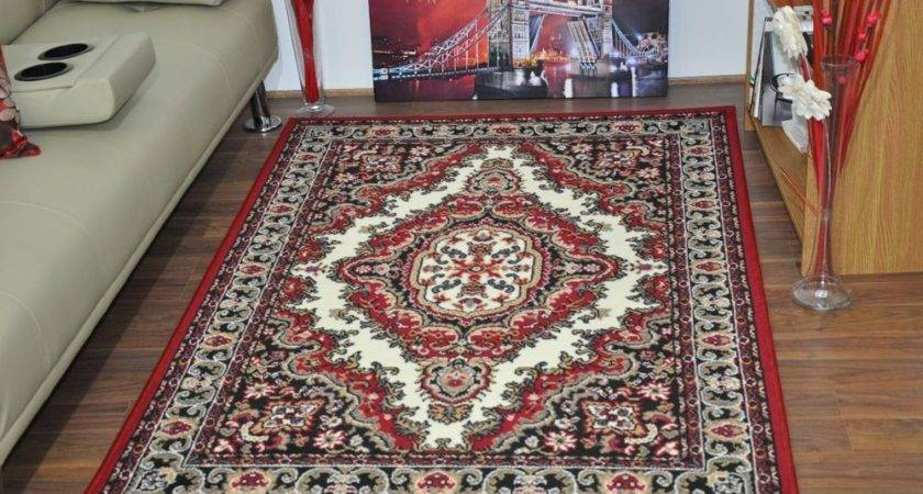 New Cream Red Large Modern Traditional Medallion Area Rugs
