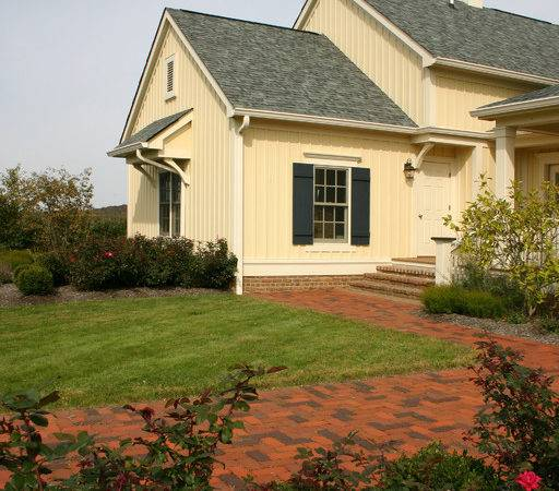 New Old Farmhouse Brick Pathway Leading Front